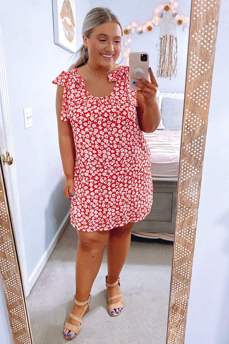 S / Tomato Poppy Patch Floral Dress - Madison and Mallory