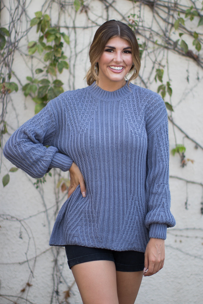 Slate / S Cadena Crochet Sweater - Madison + Mallory