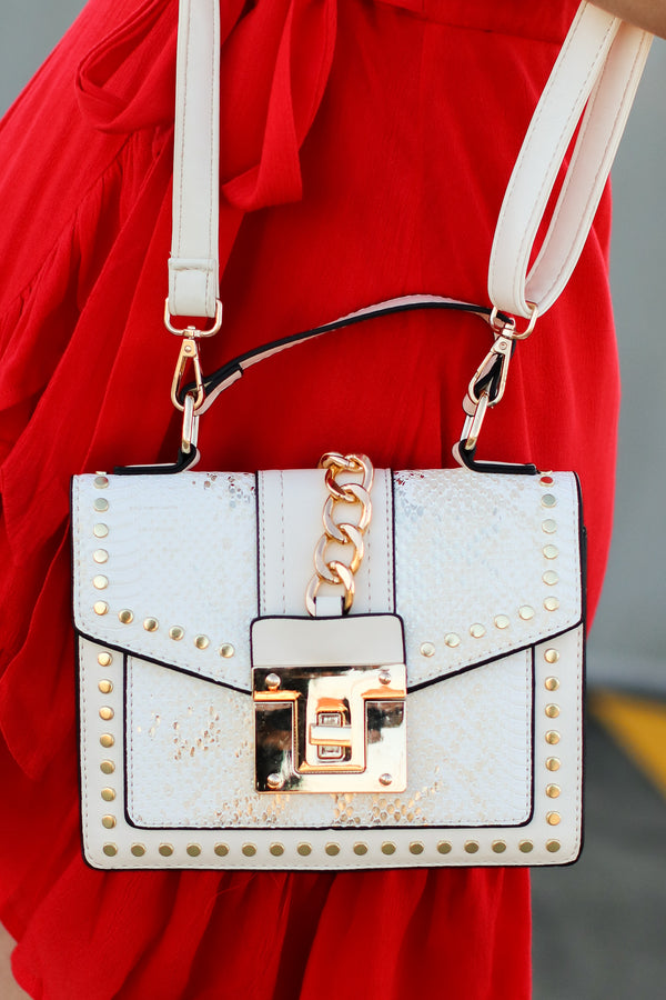 White Audra Studded Snake Print Crossbody Bag - White - Madison and Mallory