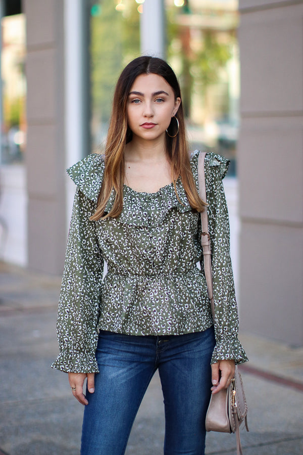 S / Olive Far From Home Leopard Button Peplum Top - Madison + Mallory