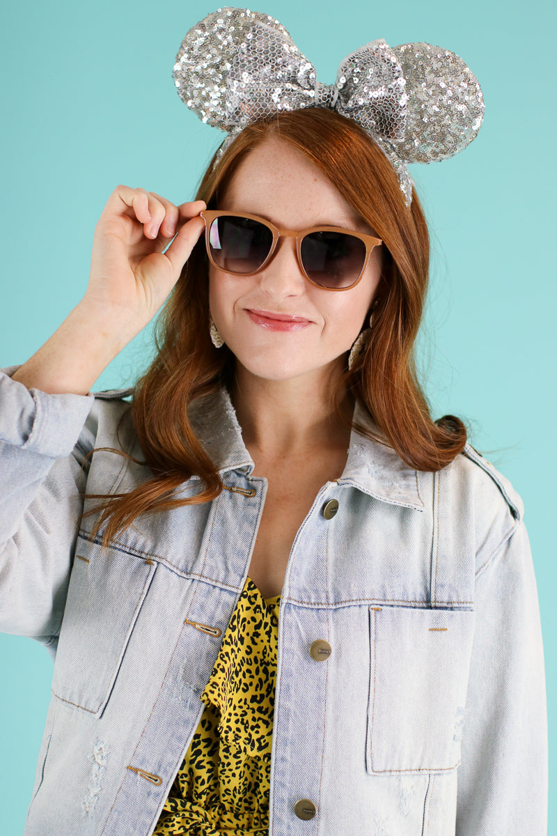 Camel Keep it Shady Square Sunglasses - Madison and Mallory