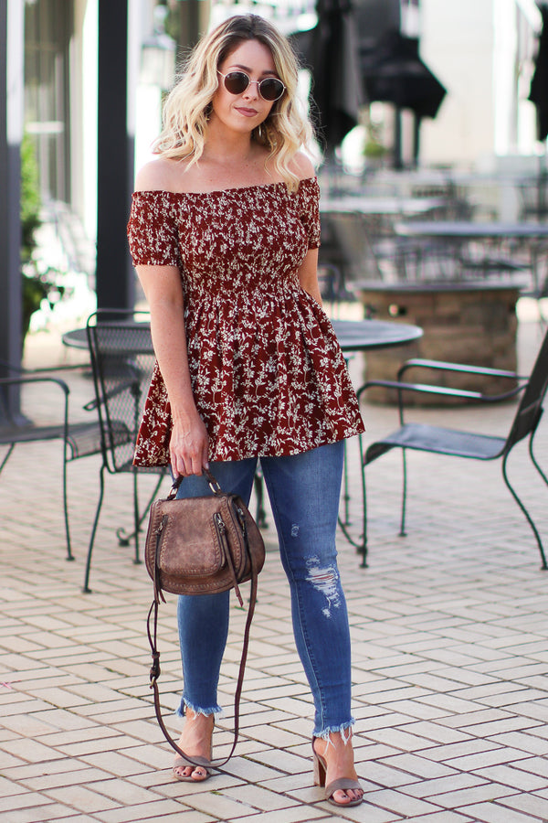 Marta Floral Smocked Top - Sienna - FINAL SALE - Madison + Mallory