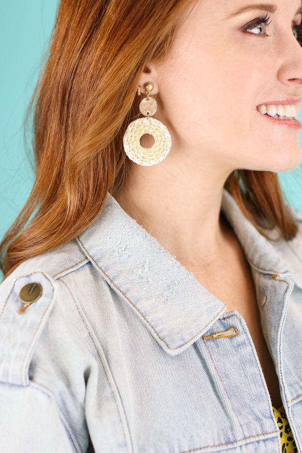 Around Again Rattan Circle Earrings - Madison and Mallory