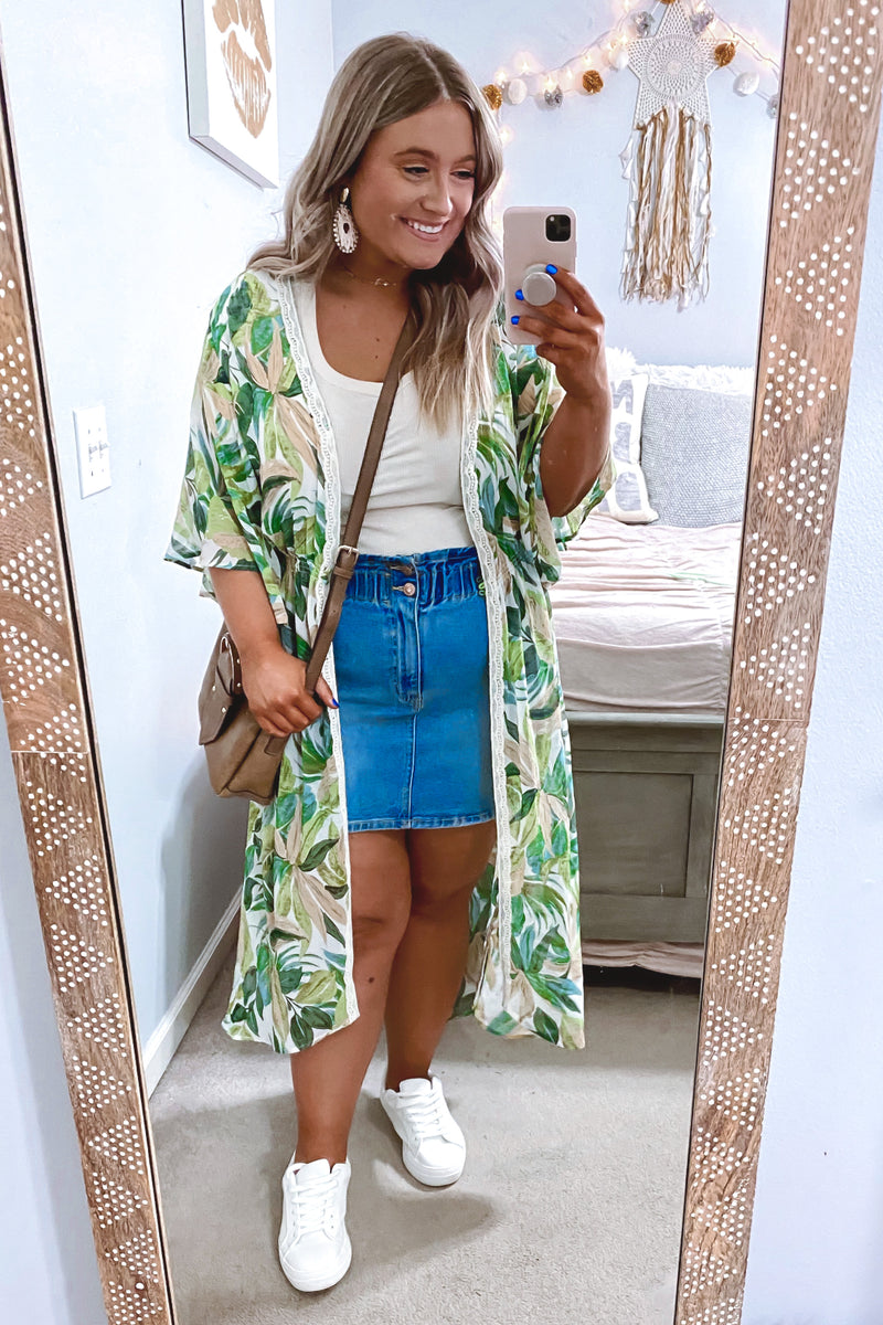 Green / S Playa Tropical Print Kimono - FINAL SALE - Madison and Mallory