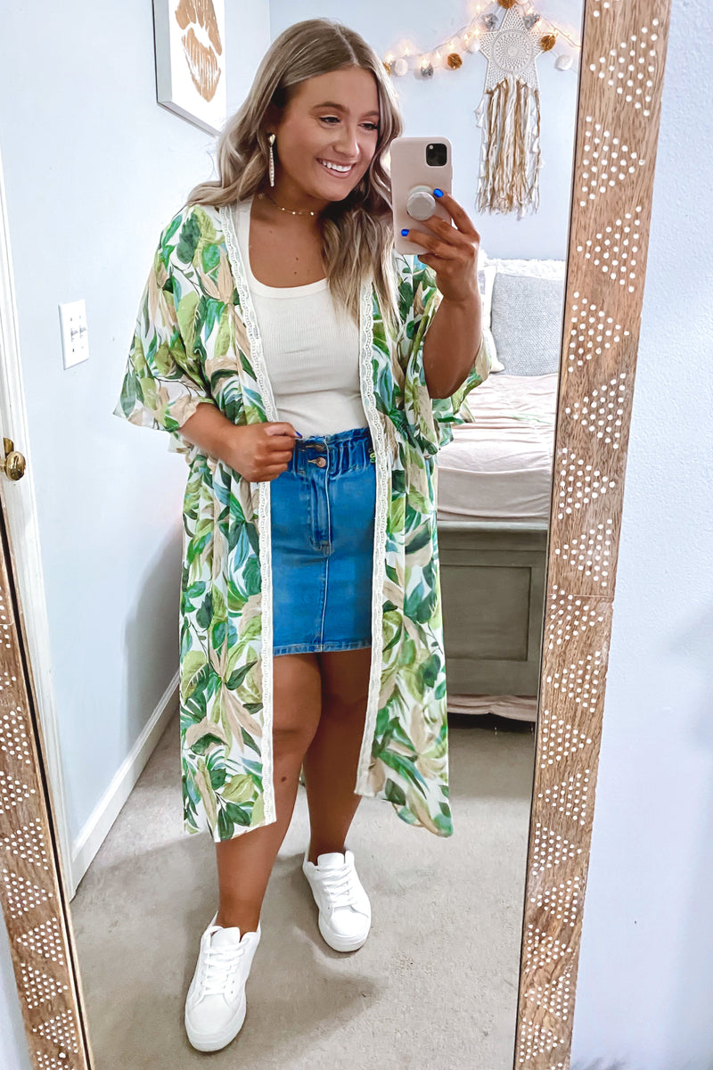 Playa Tropical Print Kimono - FINAL SALE - Madison and Mallory