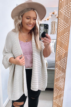 Oatmeal / OS Kaysville Ribbed Knit Poncho - Madison and Mallory
