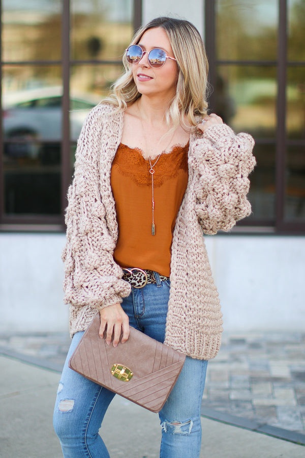 SM / Mocha Odette Bubble Sleeve Knit Cardigan - Madison + Mallory