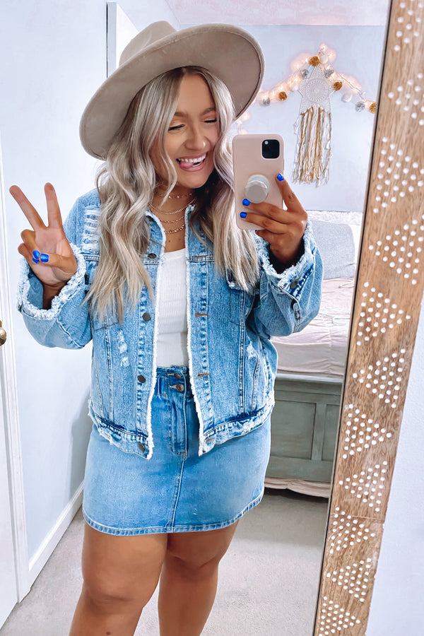 S / Dark Denim Got it Covered Distressed Denim Jacket - Madison and Mallory