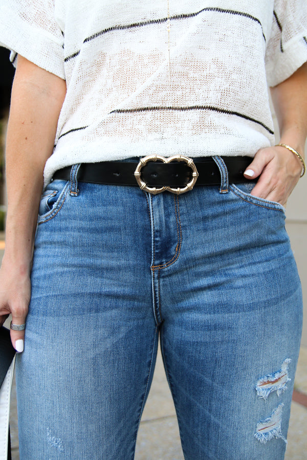 OS / Black Power Moves Double Bamboo Ring Belt - Black - Madison + Mallory