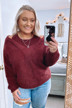 Plum / S Norlina Cold Shoulder Knit Sweater - Madison and Mallory