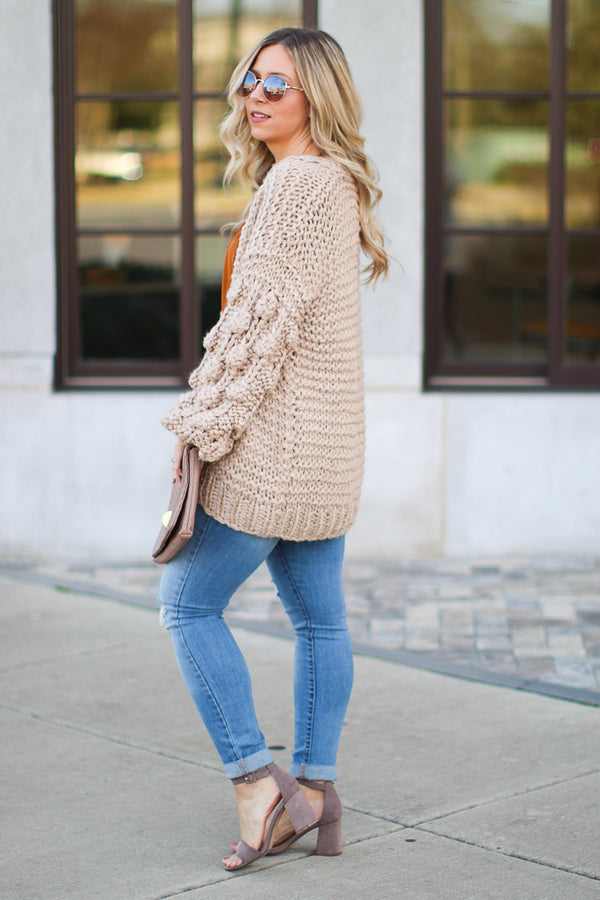 Odette Bubble Sleeve Knit Cardigan - Madison + Mallory