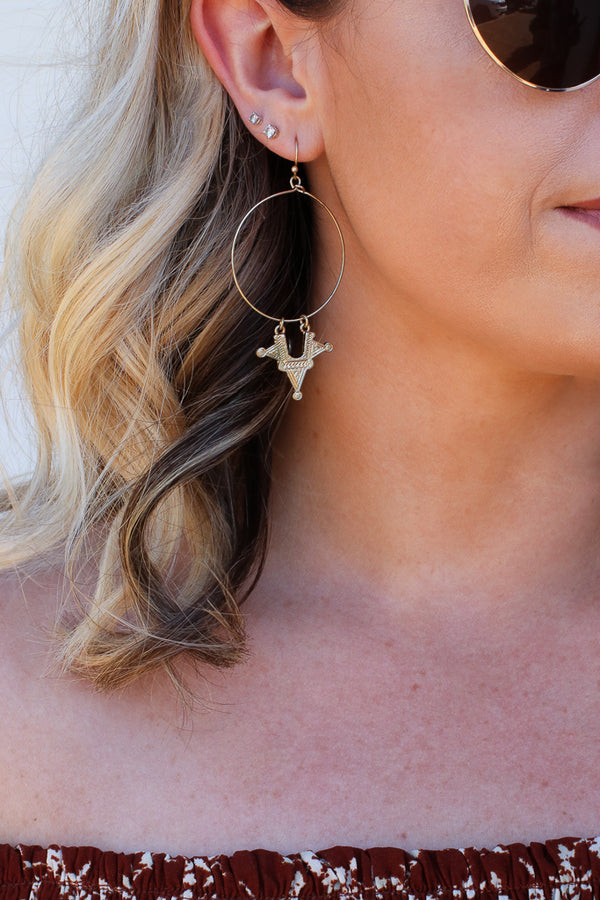 OS / Gold Rumi Charm Dangle Hoops - Madison + Mallory