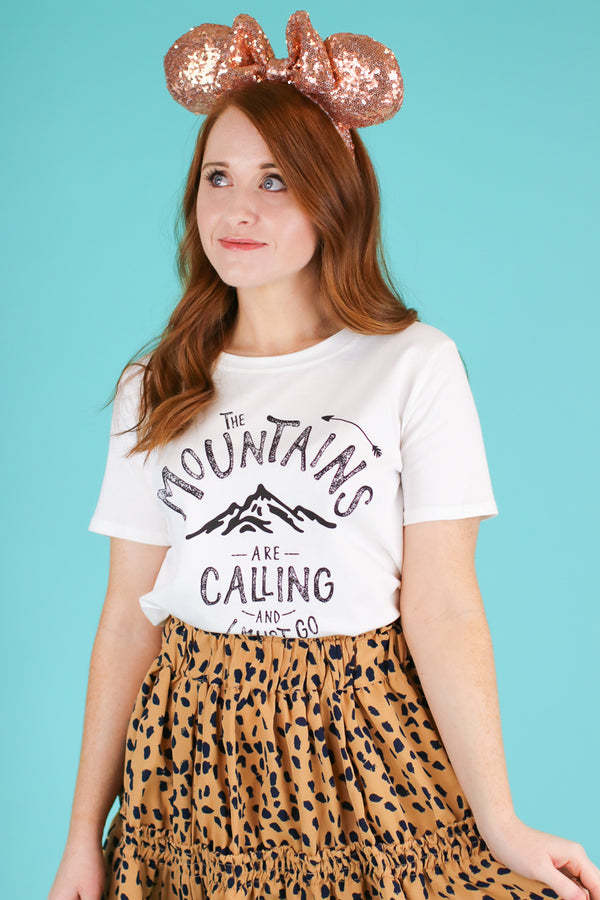 S / Ivory The Mountains Are Calling Graphic Top - Madison and Mallory