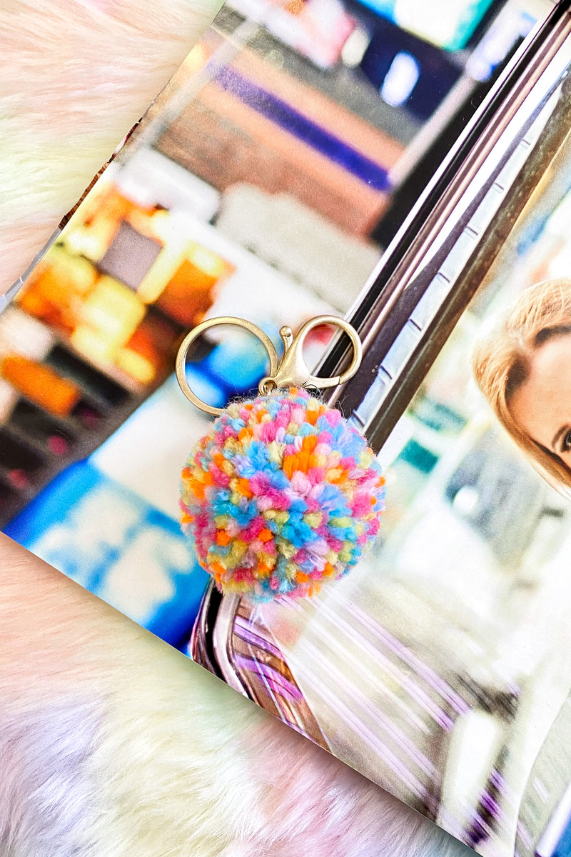 Multi Sugar Spun Multi Color Pom Pom Keychain - Madison and Mallory