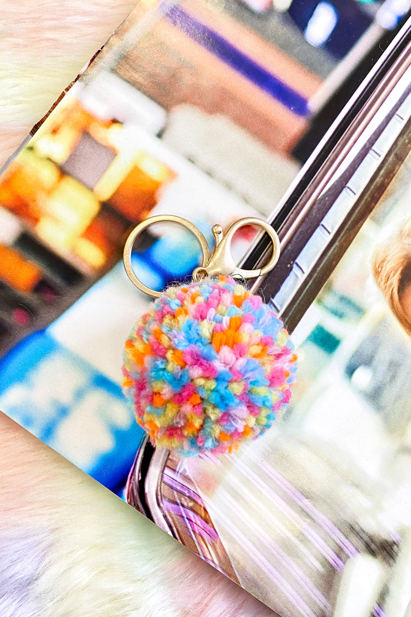 Sugar Spun Multi Color Pom Pom Keychain - Madison and Mallory