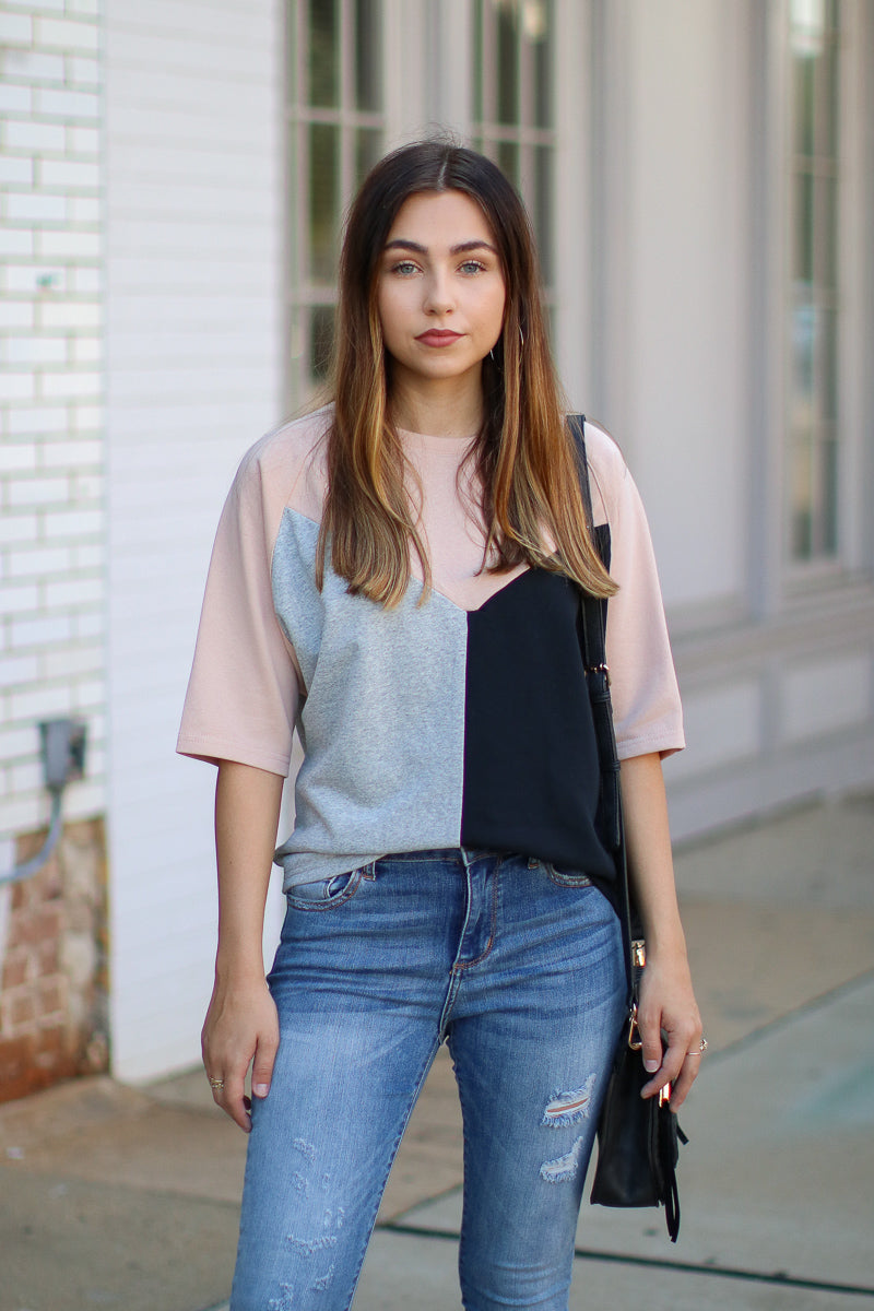 S / Blush Worldwide Color Block Geo Top - FINAL SALE - Madison + Mallory