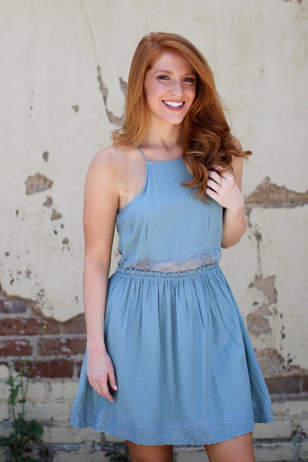 M / Blue Lace Trim Tank Dress - Madison + Mallory