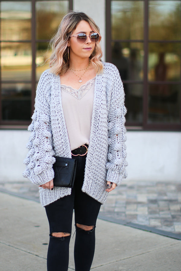 SM / Gray Adalind Pom Pom Sleeve Knit Cardigan - Gray - Madison + Mallory
