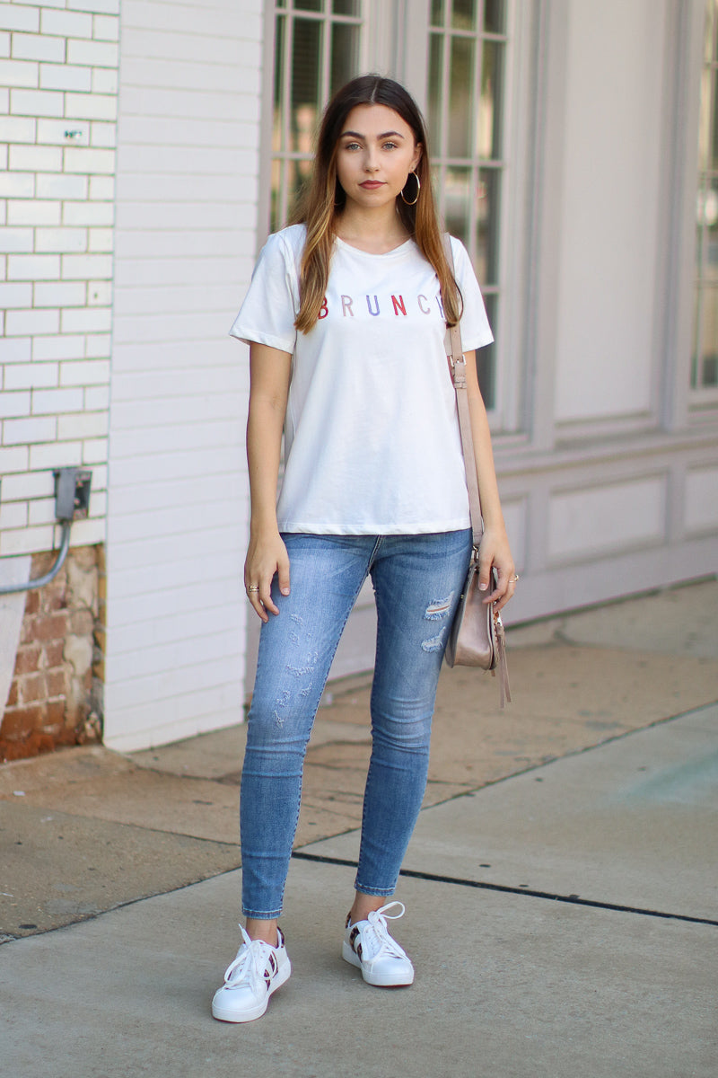 Brunch Embroidered Graphic Top - Madison and Mallory