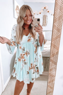 S / Mint Planted Dreams Bell Sleeve Floral Dress - Madison and Mallory