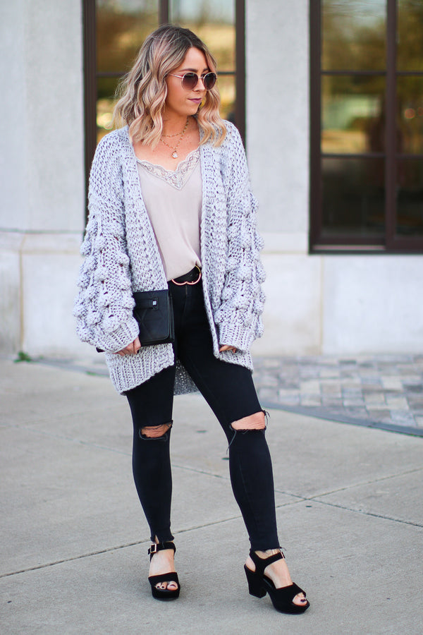 Adalind Pom Pom Sleeve Knit Cardigan - Gray - Madison + Mallory