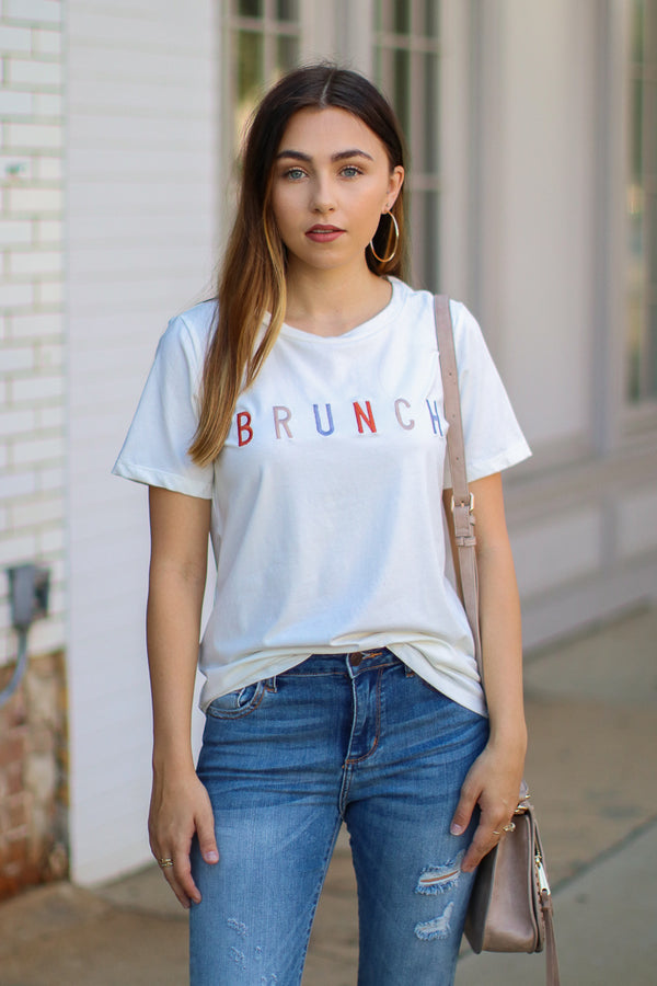 S / Ivory Brunch Embroidered Graphic Top - Madison + Mallory