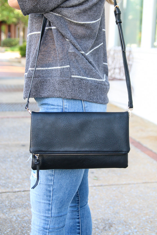 Black Ezra Fold Over Clutch - Black - Madison + Mallory