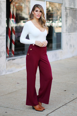 S / Wine Maxwell Wide Leg Button Pants - FINAL SALE - Madison + Mallory