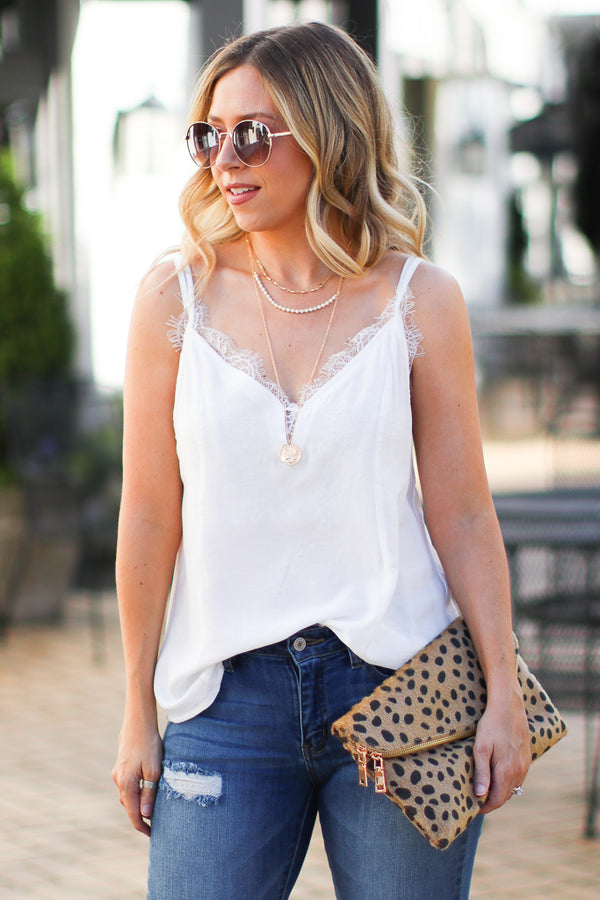 Ivory / S Foley Lace Trim Tank - Ivory - Madison + Mallory