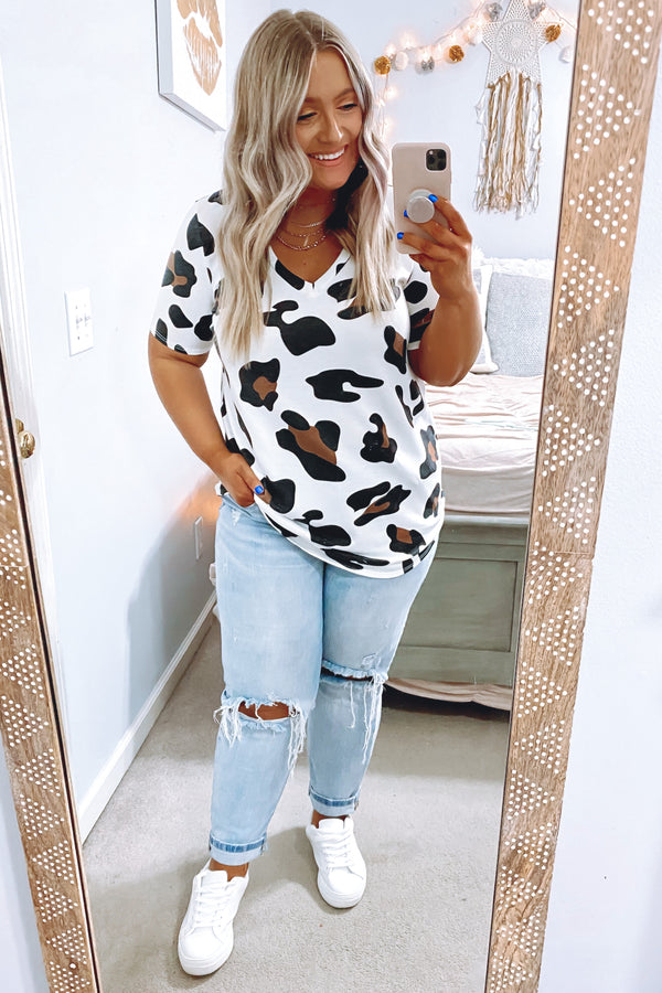 Salida Animal Print V-Neck Top - Madison and Mallory