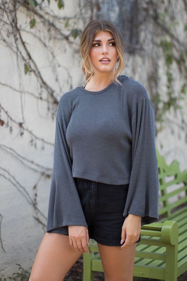 S / Charcoal Longsleeve Hoodie Knit Top - Madison + Mallory