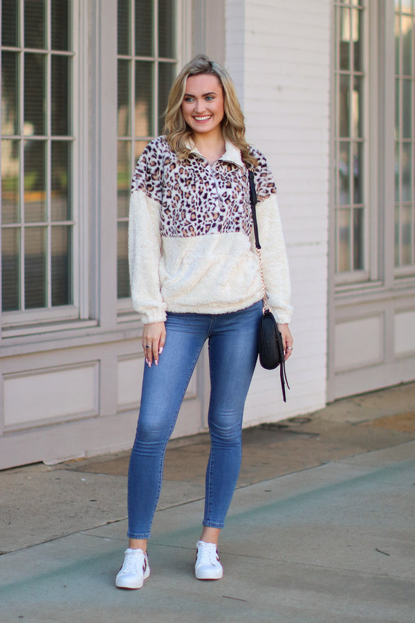 Wilde Leopard 1/4 Zip Pullover - Madison + Mallory
