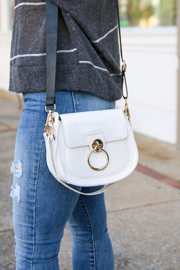 White Velasco Ring Saddle Crossbody Bag - White - Madison + Mallory
