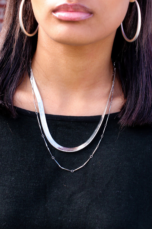 Silver Tempt Me Layered Chain Necklace - Madison and Mallory