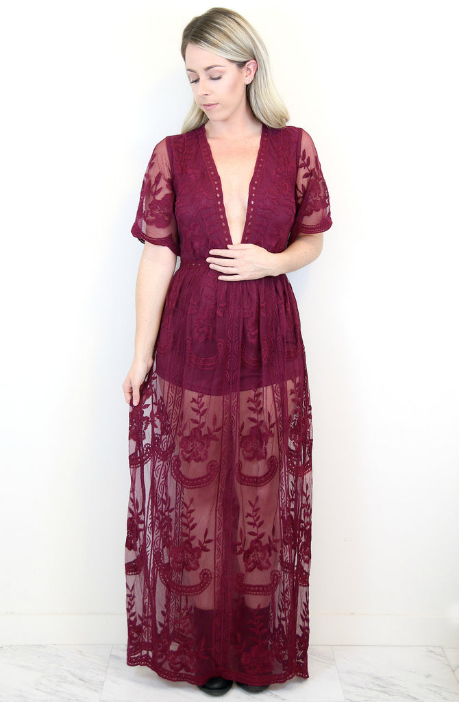 Maroon Lace Maxi Dress