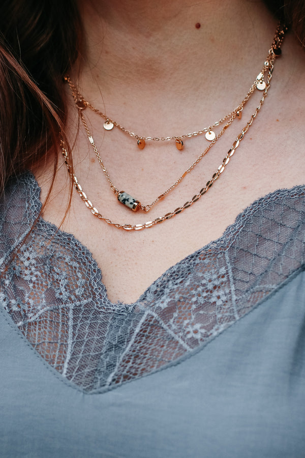 Jasper Hazelle Stone and Disc Layered Necklace - Jasper - Madison + Mallory