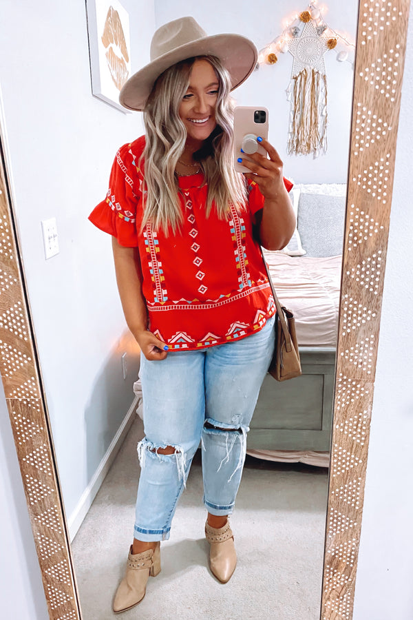 S / Tomato Levana Embroidered Detail Top - Madison and Mallory