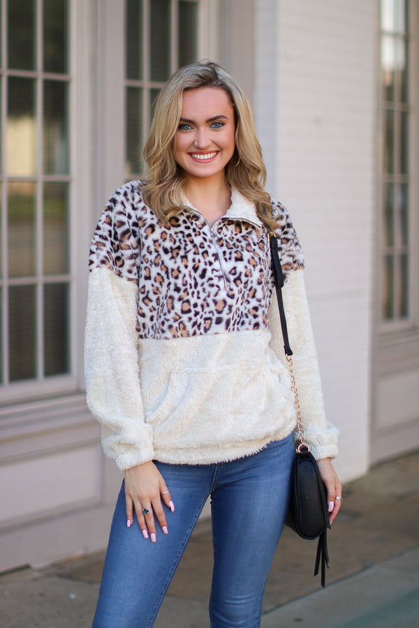 S / Ivory Wilde Leopard 1/4 Zip Pullover - Madison + Mallory