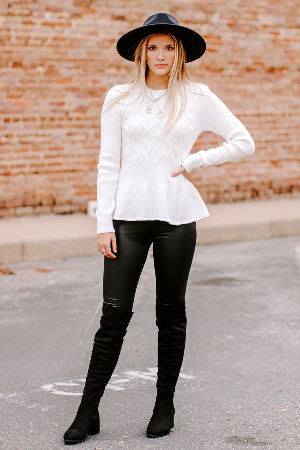 Lyanne Cable Knit Peplum Sweater - Madison and Mallory