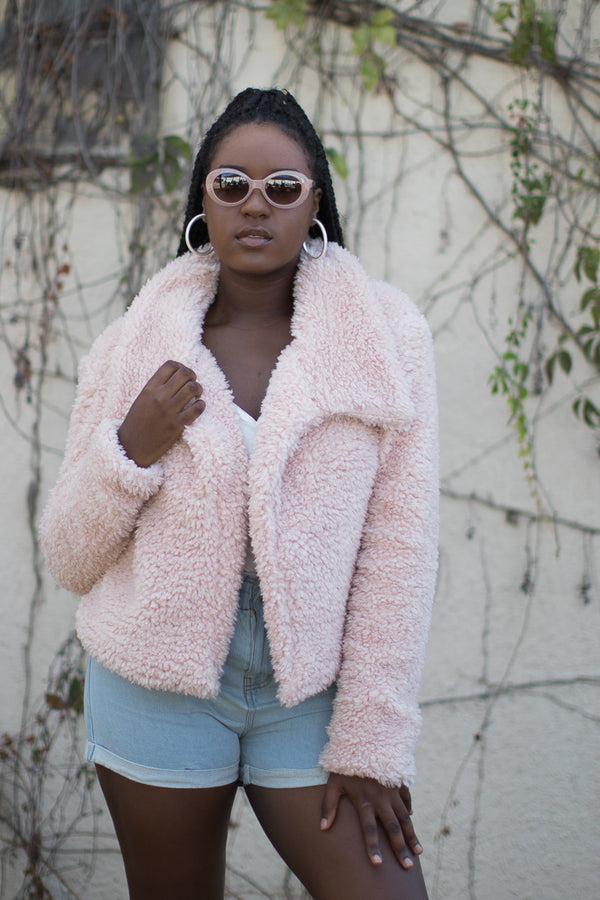 S / Cafe Pink Unforgettable Fuzzy Jacket - Madison + Mallory