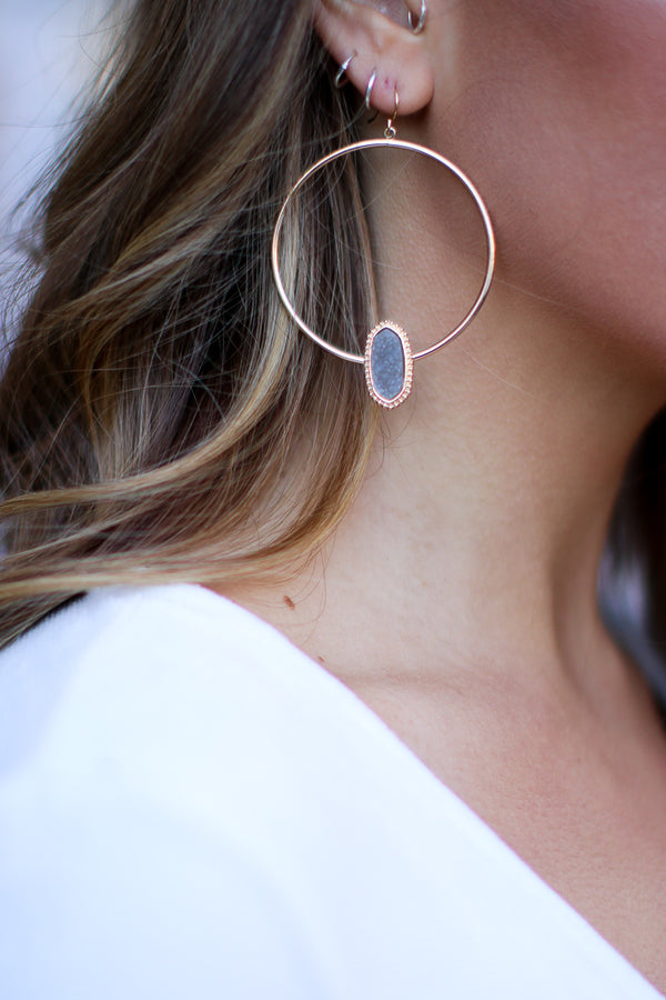 OS / Gray The Night is Young Druzy Hoops - Madison + Mallory