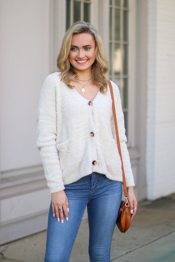 Cream / S Second Wind Super Soft Knit Cardigan - Cream - Madison + Mallory