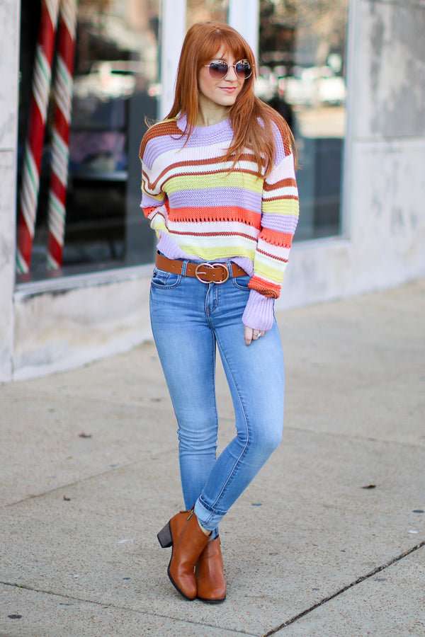 Banana Split Striped Sweater - Madison + Mallory