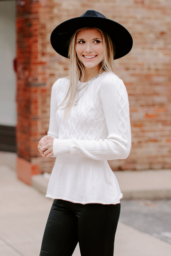 S / White Lyanne Cable Knit Peplum Sweater - Madison and Mallory