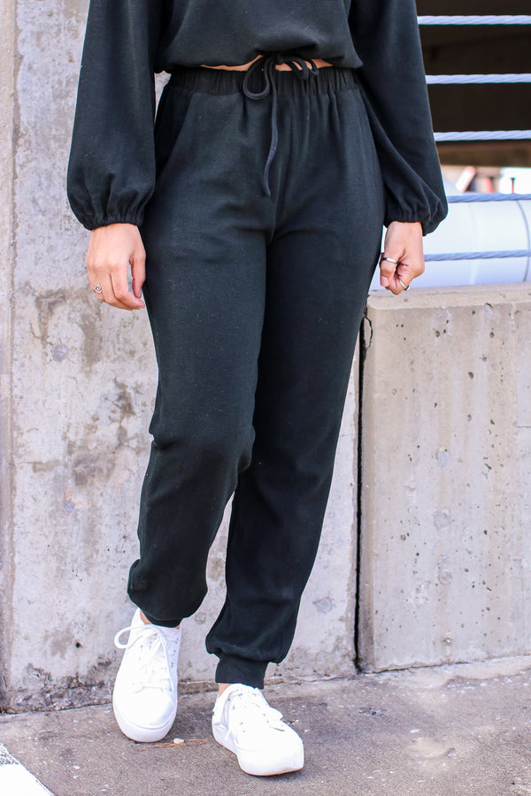 S / Black Cozy Little Secret Joggers - Madison and Mallory