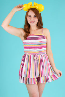 S / Multi Spectacular Rainbow Stripe Ruffle Romper - FINAL SALE - Madison and Mallory