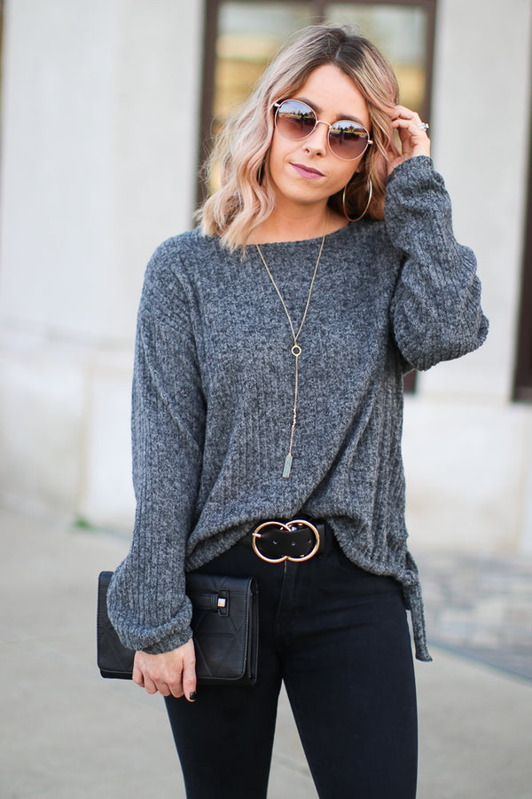 S / Charcoal Jane Ribbed Knit Top - Madison + Mallory