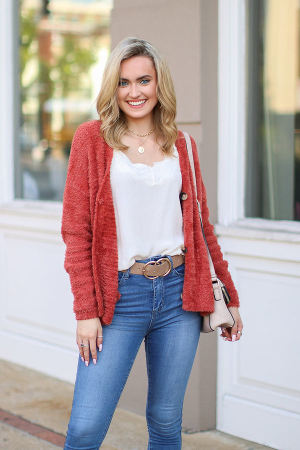 Second Wind Super Soft Knit Cardigan - Copper - FINAL SALE - Madison and Mallory