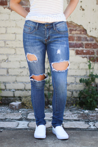 Mixed Denim Frayed Skirt