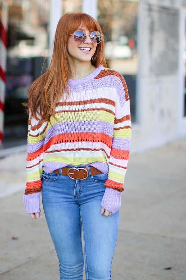 S / Lavender Banana Split Striped Sweater - Madison + Mallory